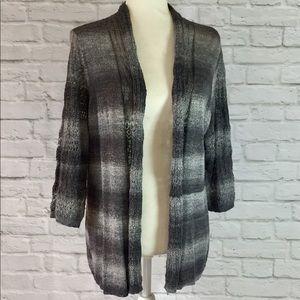 Women's gray /black ombré stripe open cardigan